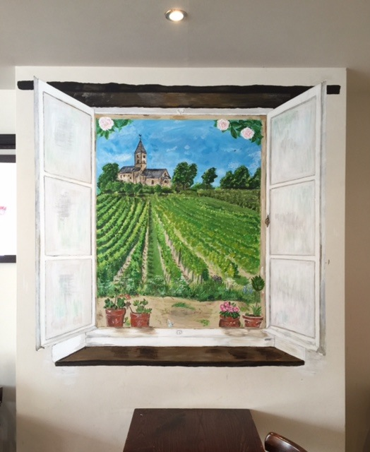 View from a window. Mural in acryllic. For a L'Absinthe, a French restaurant in Primrose Hill, London.